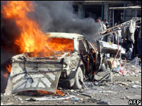 A car burning in Kirkuk after a car bomb attack (file picture)