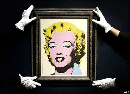 Lemon Marilyn by Andy Warhol, dated 1962, is hung at Christie's auction house in London, UK