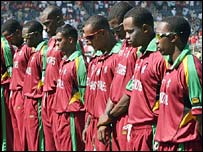 West Indies players observe a minute's silence for the late Bob Woolmer