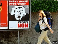 "Swiss ""No to Schengen"" poster during the 2005 referendum"