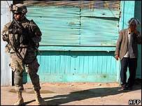 US soldier on patrol in Baghdad