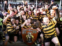 RBAI players celebrate their Schools' Cup win