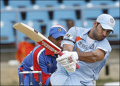 Yuvraj Singh thumps the ball for six