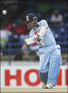Sachin Tendulkar smacks the ball to the boundary