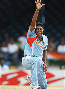 India's Anil Kumble appeals for a wicket