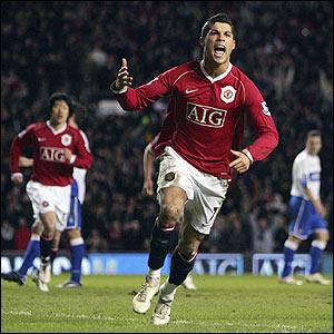Cristiano Ronaldo celebrates putting United ahead