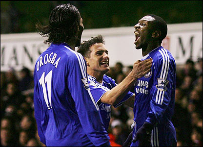 Shaun Wright-Phillips is congratulated by his Chelsea team-mates