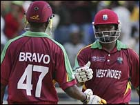 Brian Lara (right) with Dwayne Bravo