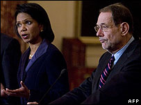 Condoleezza Rice and Javier Solana