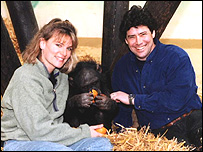 Alison and Jim Cronin with rescued chimp Trudy