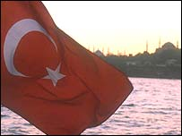 Turkish flag and Suleymaniye mosque