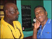 Lawrence Rowe (right) chats to former team-mate Sir Viv Richards