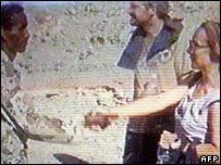 Pictures from Eritrean TV showing a freed hostage shaking hands with her abductor