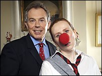 Tony Blair and Catherine Tate (Photo: Paul Randall / Comic Relief Ltd)
