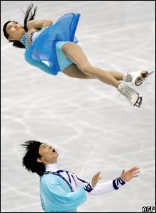 Chinese skaters Tong Jian and Pang Qing perform in the World Figure Skating Championships in Tokyo, Japan.