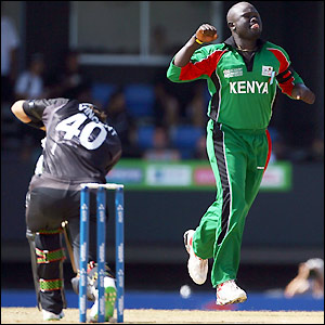 Thomas Odoyo celebrates his early wicket