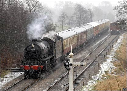 A train on the North Yorkshire Moors Railway, England, in a snowstorm