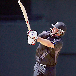 Stephen Fleming hoists a shot towards the boundary