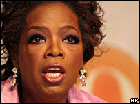 Oprah Winfrey on a Jan 2007 visit to South Africa
