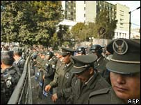 Ecuadorean police officers outside Congress