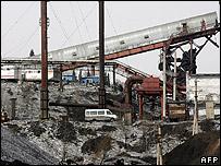 View of the stricken Ulyanovskaya mine