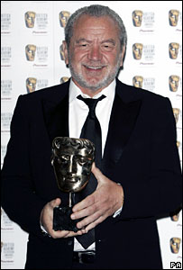 Sir Alan Sugar with a TV Bafta for The Apprentice