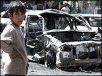 Scene of car bomb in Baghdad, 20-03-07