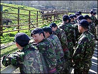 Gurkha soldiers and elephants at Howletts Wild Animal Park