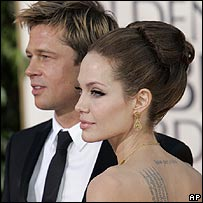 Brad Pitt and Angelina Jolie at the Golden Globe Awards