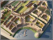 A model of how the Bo'ness waterfront will look
