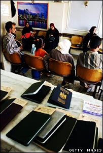 Passports of Iraqis waiting to travel outside country