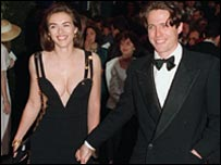 Hugh Grant - and then girlfriend Liz Hurley - at the Four Weddings premiere