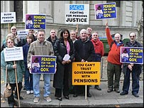 People protesting about their lost pensions.