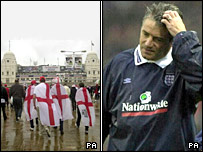 Fans approaching the last game at the old Wembley in the rain and Kevin Keegan about to resign