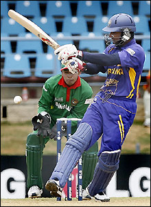 Sangakkara sees off another delivery