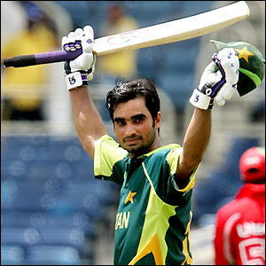 Imran Nazir celebrates only his second ODI ton