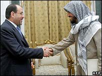 PM Nouri Maliki with Ahmed Shibani (right)