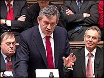 Chancellor Gordon Brown during his speech to Parliament