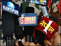 Microphone collars of Nepali TV stations