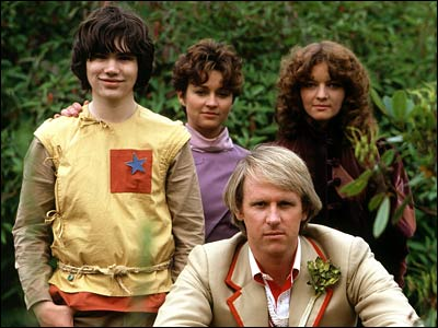 Adric (Matthew Waterhouse), air hostess Tegan (Janet Fielding) and Nyssa (Sarah Sutton) with fifth Doctor Peter Davison