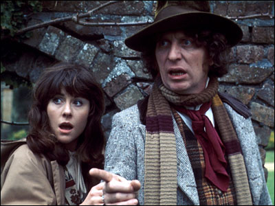 Elisabeth Sladen with fourth Doctor Tom Baker
