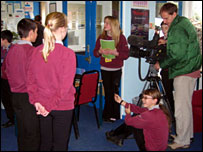 Pupils practise in front of a camera
