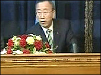 Ban Ki-Moon begins to duck following blast