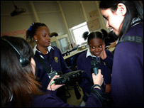 Pupils at Charles Edward Brookes School in Lambeth making a news story