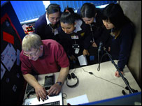 Pupils at Charles Edward Brookes School using sound editing software