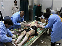 Doctors treat bomb victim in Sadr City hospital, Baghdad - file photo