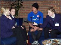Students interview Middlesbrough football team