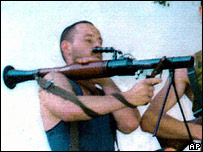 David Hicks holds a bazooka in an undated photo taken in Kosovo
