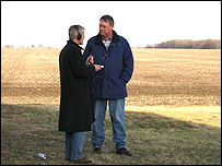 Nils Blythe interviewing farmer Sam Martin