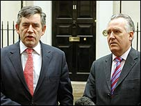 Gordon Brown and Peter Hain at a Downing Street news conference